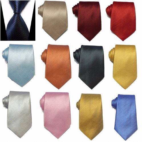 Men's Silky Classic Jacquard Woven Striped Necktie Tie Gift Wedding Prom